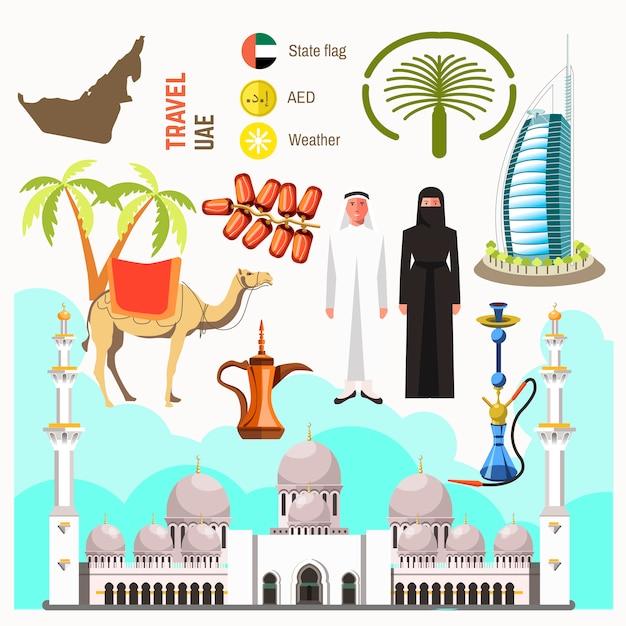 Vetor de mapa de conceito de viagens dos emirados árabes unidos Vetor Premium