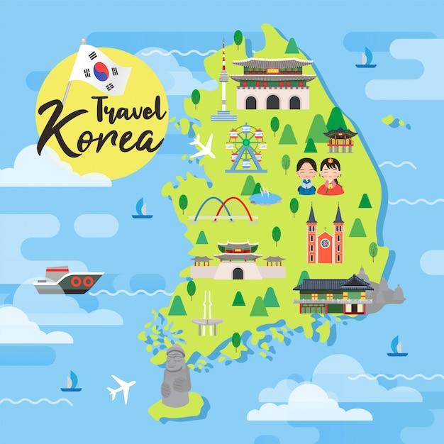 Vetor de mapa de viagens da coreia do sul Vetor Premium