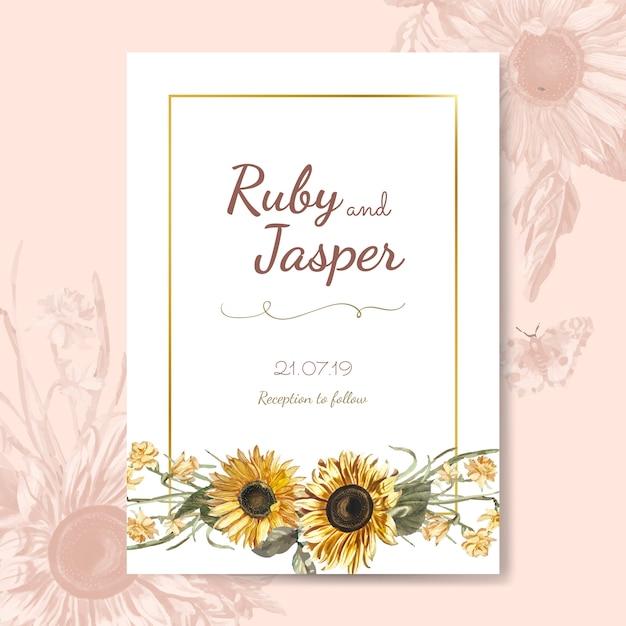 Vetor de maquete de cartão de convite de casamento Vetor grátis