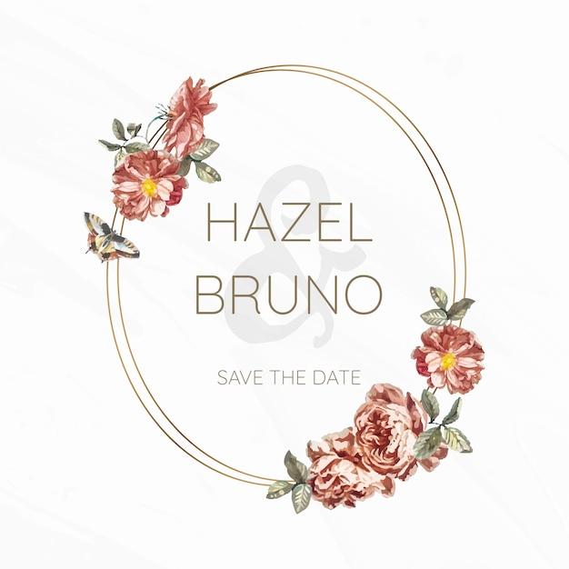 Vetor de maquete de convite de casamento floral Vetor grátis
