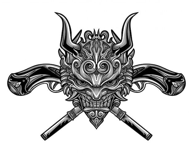 Vetor de máscara de arma malvada Vetor Premium