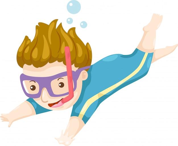 Vetor de mergulhador Vetor Premium