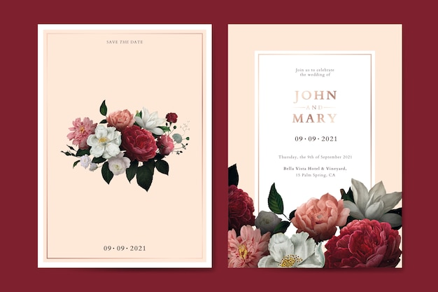 Vetor de modelo de cartão de convite de casamento flor Vetor Premium