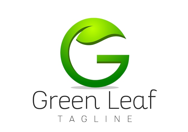 Vetor de modelo de design de logotipo letra g leaf Vetor Premium