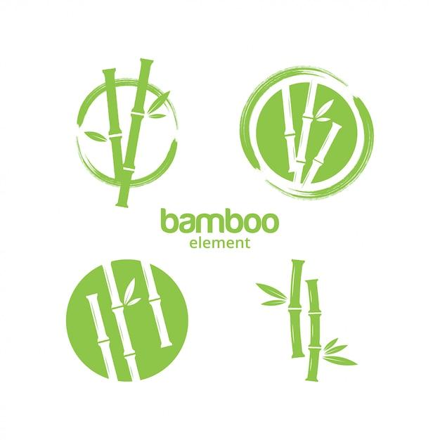 Vetor de modelo de design gráfico de bambu verde Vetor Premium