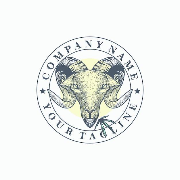 Vetor de modelo de logotipo de cabra maconha Vetor Premium