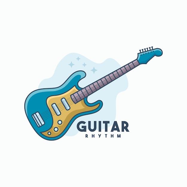 Vetor de modelo de logotipo de guitarra ritmo Vetor Premium