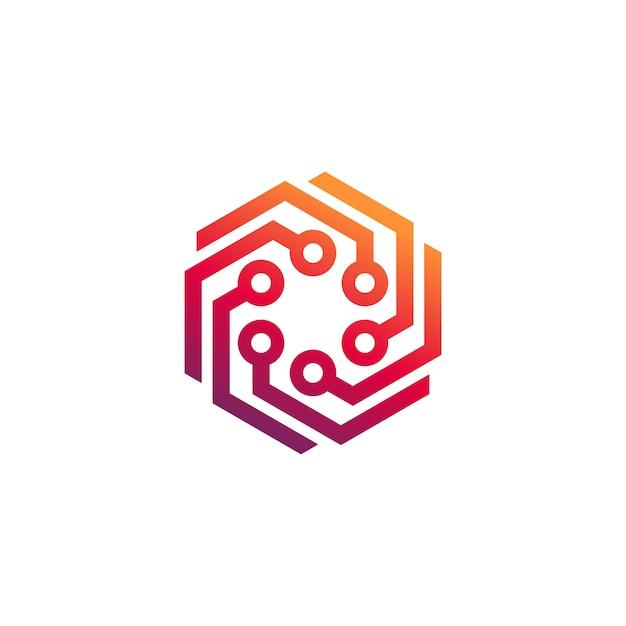 Vetor de modelo de logotipo de tecnologia Vetor Premium