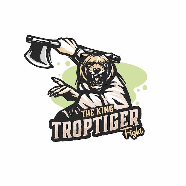 Vetor de modelo de logotipo de tigre lutador Vetor Premium