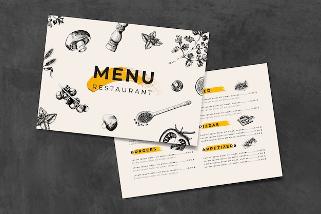 Vetor de modelo de menu de cozinha italiana Vetor Premium