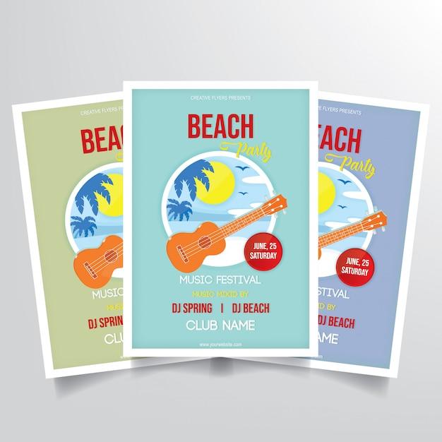 Vetor de modelo de panfleto de festa de praia Vetor Premium