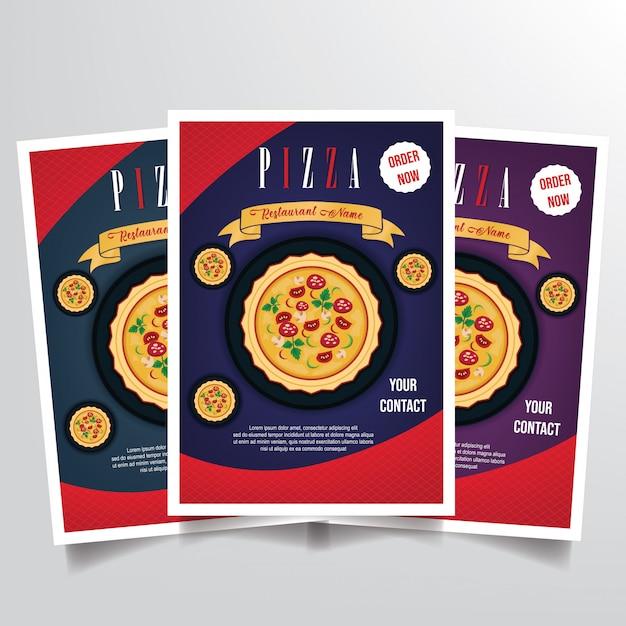 Vetor de modelo de panfleto de pizza Vetor Premium