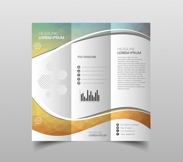 Vetor de modelos de design de brochura com três dobras Vetor Premium