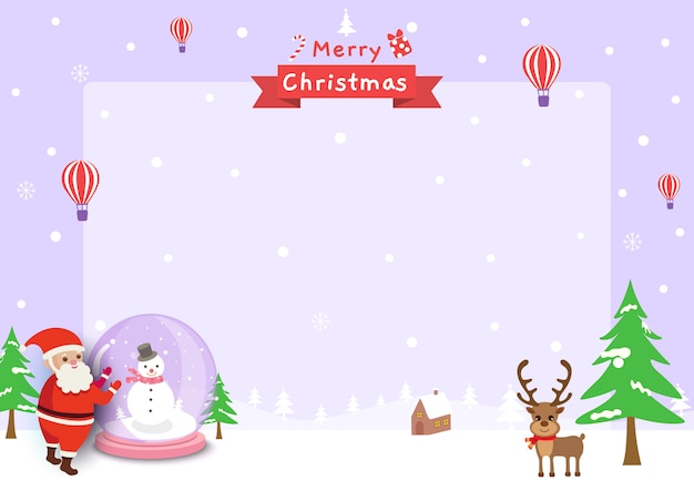 Vetor de moldura de feliz natal com bola de vidro de papai noel e renas na neve Vetor Premium
