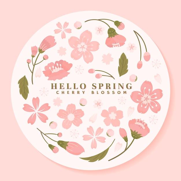 Vetor de moldura redonda rosa flor de cerejeira Vetor grátis