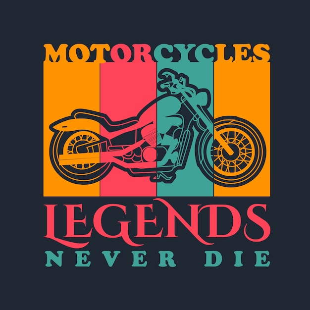 Vetor de moto vintage para design de camisa de t Vetor Premium