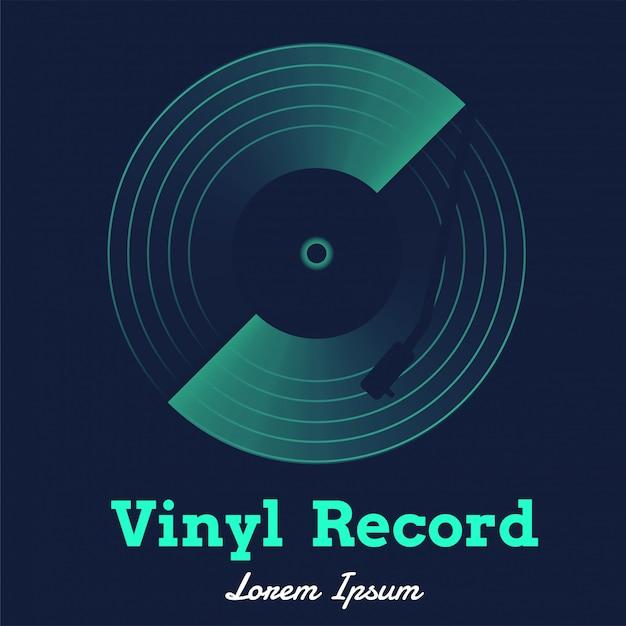 Vetor de música de discos de vinil com gráfico escuro Vetor Premium