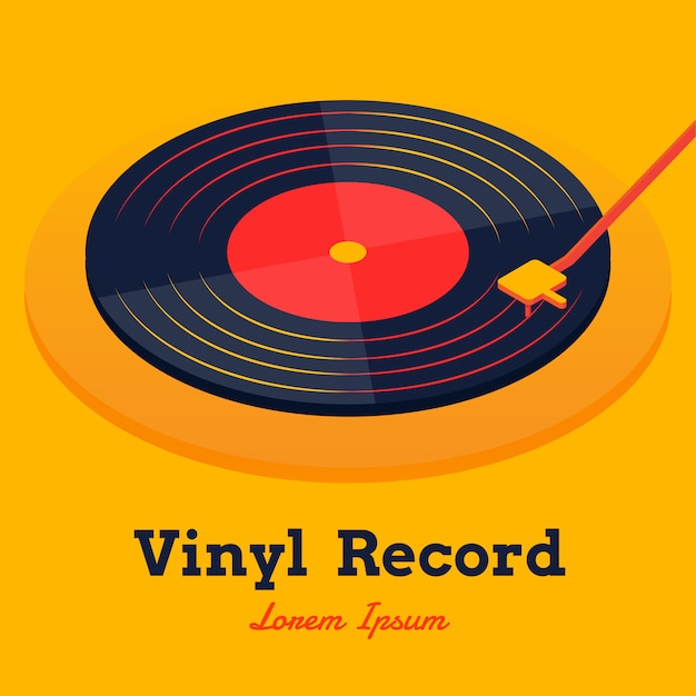 Vetor de música de discos de vinil isométrica Vetor Premium