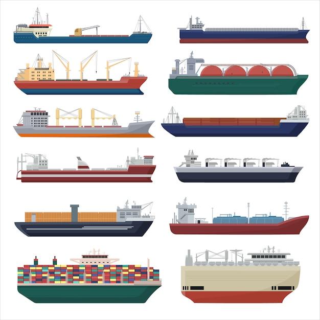 Vetor de navio de carga frete transporte exportação recipiente ilustração conjunto Vetor Premium