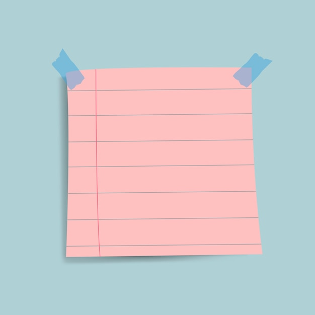Vetor de nota de papel lembrete rosa em branco Vetor grátis