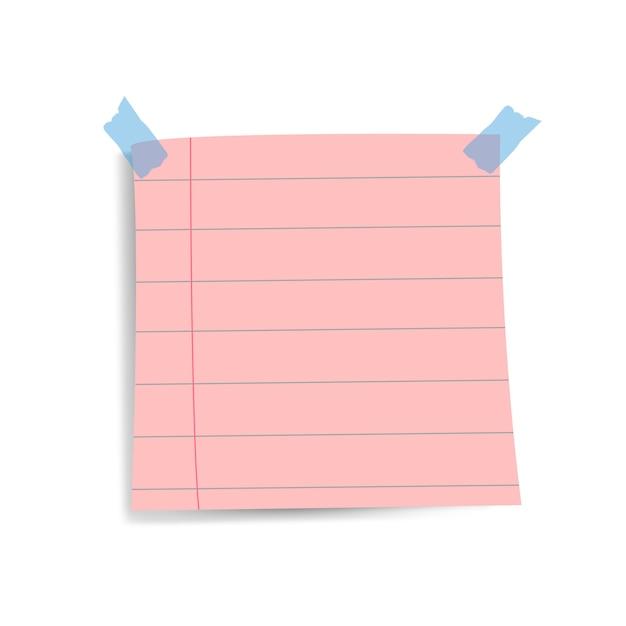 Vetor de nota de papel quadrado lembrete rosa em branco Vetor grátis
