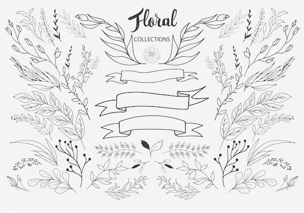 Vetor de ornamentos florais desenhados à mão Vetor Premium
