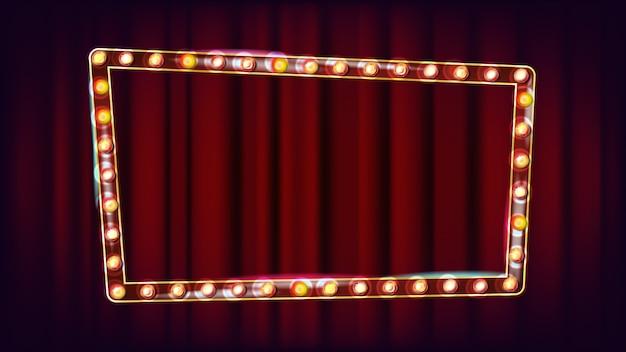 Vetor de outdoor retrô. placa de sinal de luz a brilhar. luz de néon iluminada dourada do vintage. carnaval, circo, estilo cassino. ilustração Vetor Premium