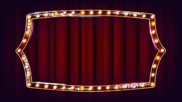 Vetor de outdoor retrô. placa de sinal de luz a brilhar. quadro de lâmpada de brilho realista. luz de néon iluminada dourada do vintage. carnaval, circo, estilo cassino. ilustração Vetor Premium