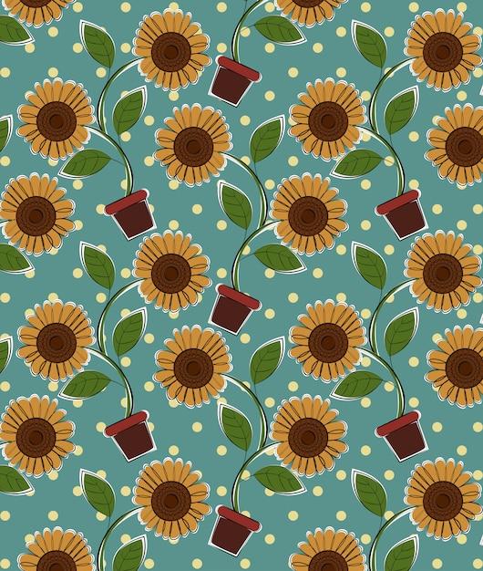 Vetor de padrão de flor do sol. Vetor Premium