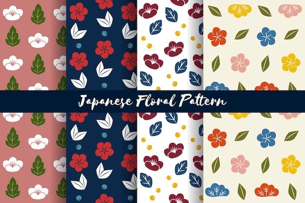 Vetor de padrão floral sem costura estilo japonês Vetor grátis