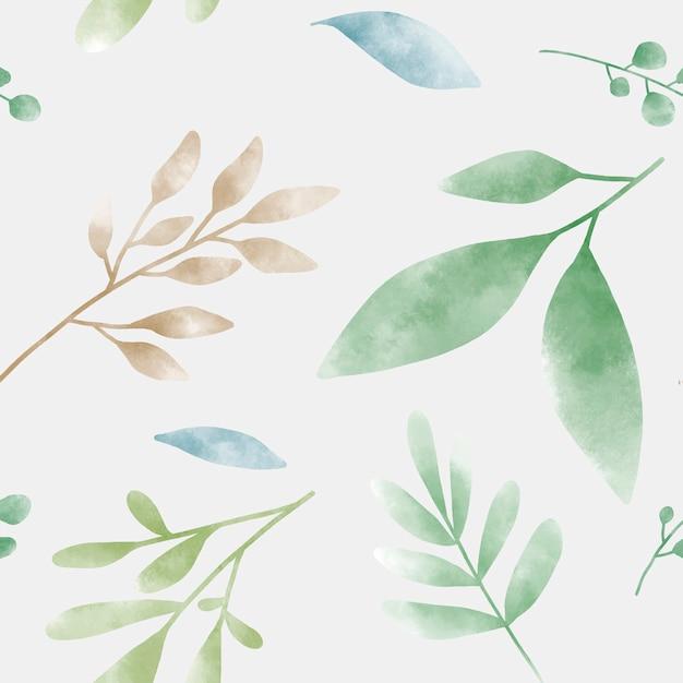 Vetor de padrões de folha verde aquarela Vetor grátis