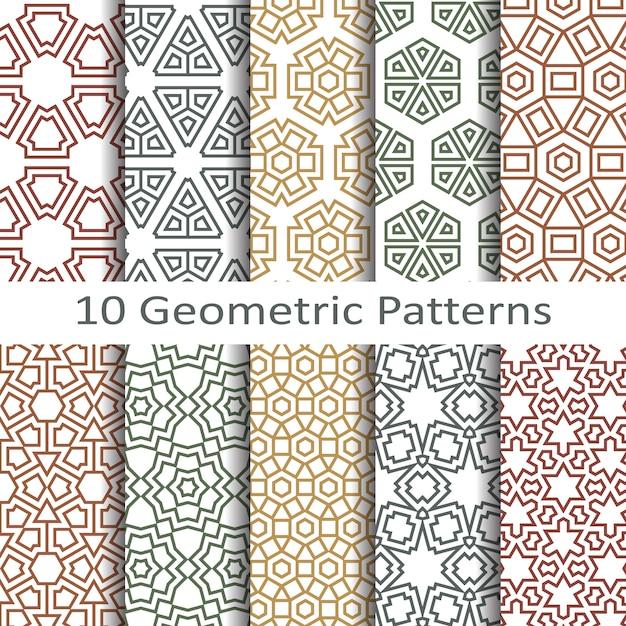 Vetor de padrões geométricos sem costura Vetor Premium