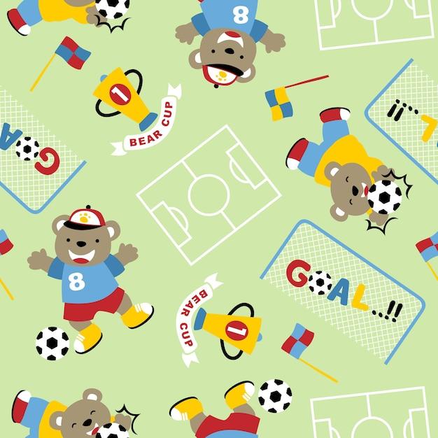 Vetor de padrões sem costura com futebol engraçado Vetor Premium