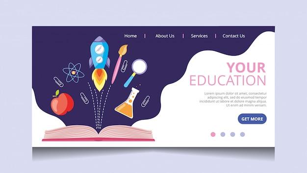Vetor de página de aterrissagem de educação Vetor Premium