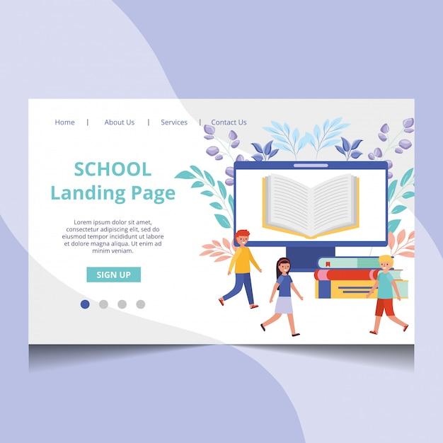 Vetor de página de aterrissagem de escola com estudantes Vetor Premium