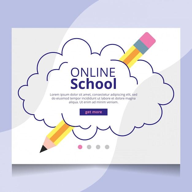 Vetor de página de destino de escola on-line Vetor Premium