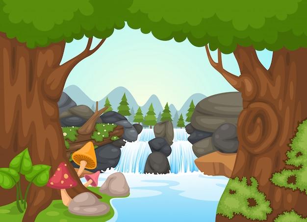 Vetor de paisagem cachoeira Vetor Premium