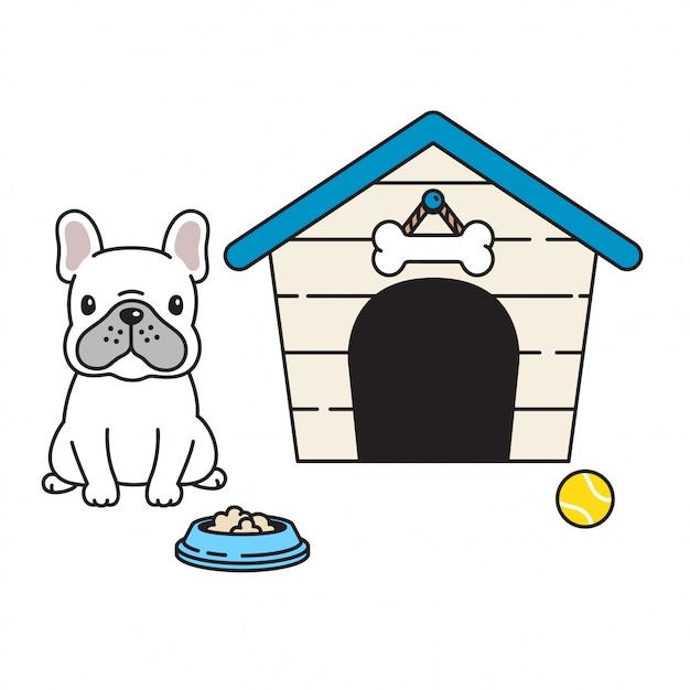 Vetor de pata de cachorro buldogue francês casa tigela bola dos desenhos animados Vetor Premium