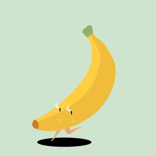 Vetor de personagem de desenho animado de banana madura amarela Vetor grátis