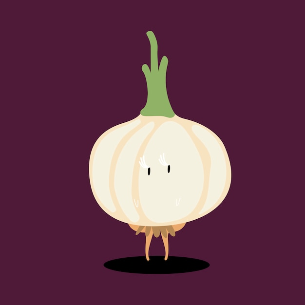 Vetor de personagem de desenho animado de cebola fresca Vetor grátis