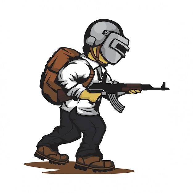 Vetor de personagem de jogo de atirador Vetor Premium