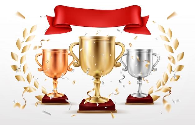 Vetor de prêmios de lugares vencedores de competição de esporte Vetor grátis