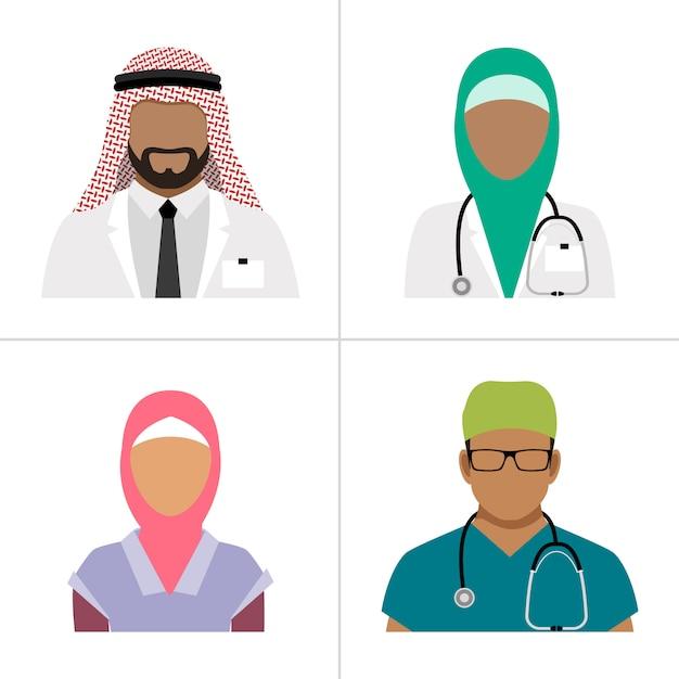 Vetor de profissionais de saúde muçulmano. equipe do hospital árabe, grupo de profissionais de saúde doc e enfermeira isolado Vetor Premium