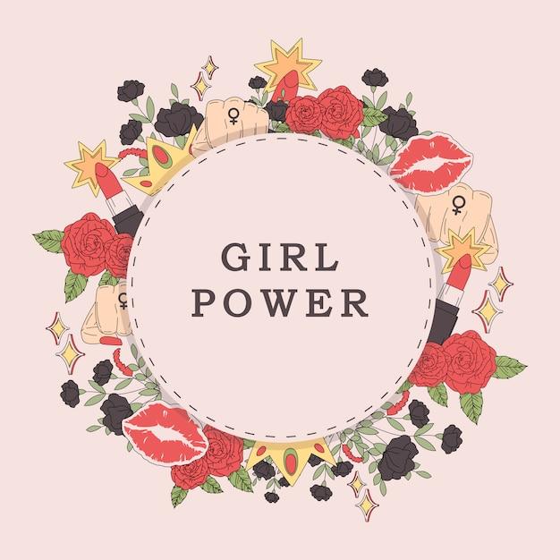 Vetor de quadro garota flor poder Vetor grátis