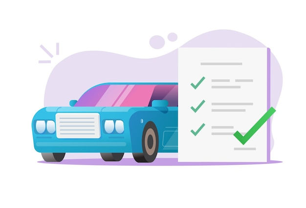 Vetor de relatório de revisão de lista de verificação de manutenção de veículo automotivo Vetor Premium