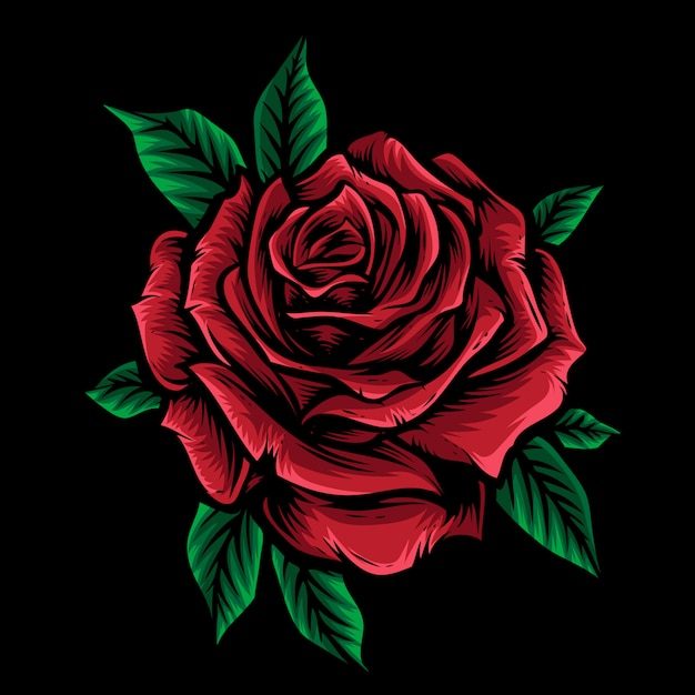 Vetor de rosa vermelha com folha Vetor Premium