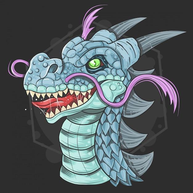 Vetor de rosto bonito de dragão Vetor Premium