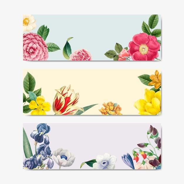 Vetor de rótulo de título conceito vintage floral natureza Vetor grátis