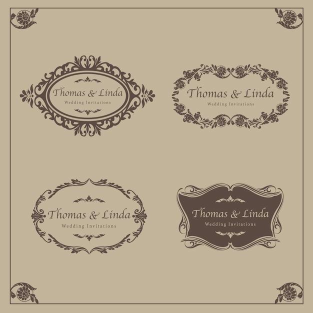 Vetor de rótulos de casamento do vintage Vetor Premium