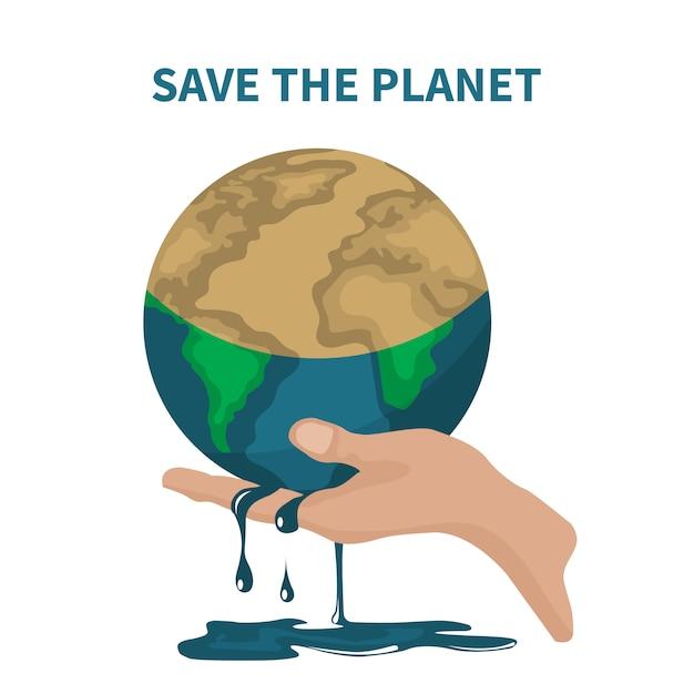 Vetor de salvar o planeta sobre o aquecimento global Vetor Premium